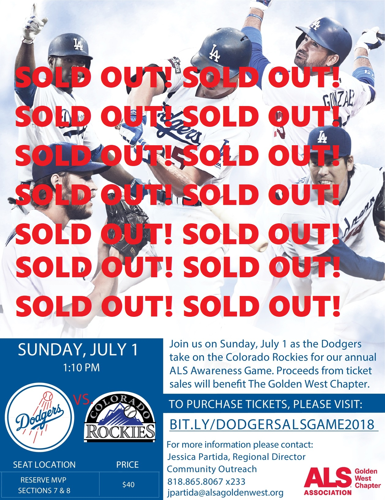 LA Dodgers ALS Awareness Game 2018 - Sold Out