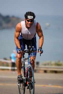 Kevin participating in the Alcatraz Triathlon in 2009