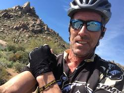 Kevin cycling at Pinnacle Peak in Scottsdale, Arizona in 202